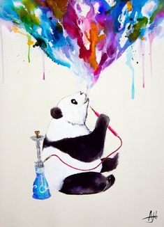 Black and white Panda. Wild Animal Paintings with a Splash of Color. By Marc Allante.