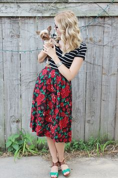 floral vintage skirt black and white fitted t shirt cat eye glasses heels yorkshire terrior ootd outfit 4 Stripes & Florals & Pups!