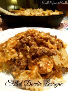 Skillet Bowtie Lasagna {easy stove-top lasagna using bowtie pasta and prepared sauce}