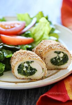 Spinach and Feta Stuffed Chicken Breasts - Calories: 169 • Fat: 5 g • Carb: 8 g • Fiber: 2 g • Protein: 25 g • Sugar: 0 g Sodium: 177 mg (without salt) • Cholest: 31 mg