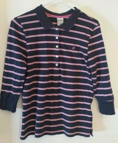 OLD NAVY Pink Blue White Stripe Collared button down 3/4 inch sleeve Large shirt #OldNavy #PoloShirt