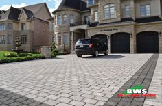 Best Way Stone > Paver: Bellagio Antico (Grey Mix) with Bellagio Antico (Ultra Black) border. #outdoor #landscape #driveway