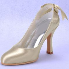 Majestic Champagne Stiletto Heel Closed Toe Slingbacks with Bow Tie