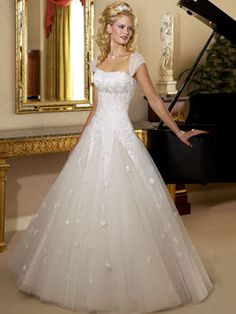 Wedding Dresses Pictures - A-Line Ball Gown Princess Scoop Dropped Cap Sleeve Non-Strapless Satin Tulle Wedding Dress - Style WD0306