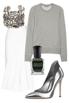 Style a gray sweatshirt with a midi-skirt, metallic pumps, and an armful of bangles and you'll be instantly chic.