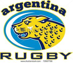 """vector Illustration of a big cat jaguar or leopard head growling with words """"Rugby Argentina"""" - stock vector #rugby #retro #illustration"""