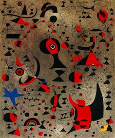 """The painting rises from the brushstrokes as a poem rises from the words. The meaning comes later.""  —Joan Miró. Painting: Joan Miró, Constellation: Toward the Rainbow, 1941."