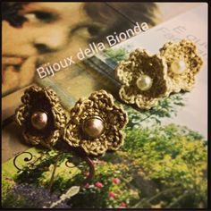 crochet flower earrings - orecchini fiore all'uncinetto…. by Bijoux della Bionda Per info scrivere a: elebeta@gmail.com #crochetflower