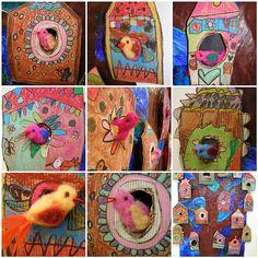 Needle felted birds in little birdhouses.  Sweet.