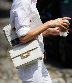 White Shirt, White Jeans, White Bag With Gold Detail #STREETSTYLE http://www.videdressing.us/selection-women-style-team-love/sel-s1503.html