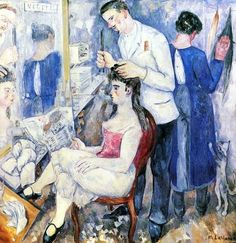 A Girl At The Hairdresser's  Mikhail Larionov  Russia  1920