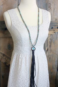 Labradorite and turquoise leather tassel necklace on Etsy by BuckskinBetty