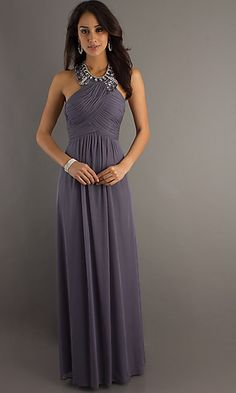 Floor length high neck dress.