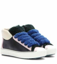 Shearling-trimmed leather sneakers | Fendi