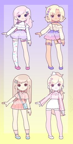 $16.50: CLOSED by MyuHime Fantasy Character, Character Art, Fashion Design Drawings, Fashion Sketches, Kawaii Drawings, Cute Drawings, Chibi Kawaii, Mode Kawaii, Sketch Poses