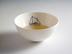 Sail Boat Bowl from It's Raining Elephants, by Robi Wehrle Ceramic Clay, Ceramic Pottery, Painted Pottery, Kitchenware, Tableware, Kitchen Items, E Design, Dinnerware, Home Accessories