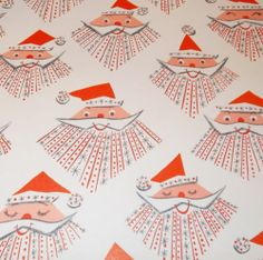 vintage santa wrapping paper - cute!