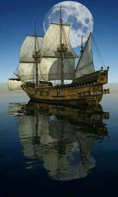 Ship and the moon on the water