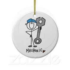 Mechanic With Wrench Stick Figure Christmas Ornaments