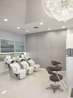 I liked the fabric covered panels on the wall. Again another great option for sound. Beauty Salon Decor, Beauty Salon Design, Beauty Salon Interior, Salon Interior Design, Beauty Bar, Hair And Nail Salon, Padded Wall, Saloon, Home Salon