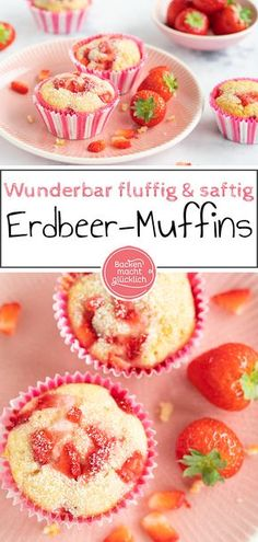 """These delicious little strawberry muffins are a special alternative to normal strawberry cake. The """"extraordinary"""" thing about strawberry muffins is that the fruits are baked with them. White Chocolate Muffins, Chocolate Blanco, Baking Chocolate, Chocolate Chip Cookies, Chocolate Chocolate, Strawberry Muffins, Strawberry Cakes, Cheesecake Recipes, Dessert Recipes"""