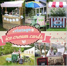 Ice Cream Carts with a Vintage Flair! Perfect for Celebrating a Summer Birthday Party!