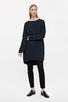 COS image 4 of Boxy sweatshirt dress in Navy