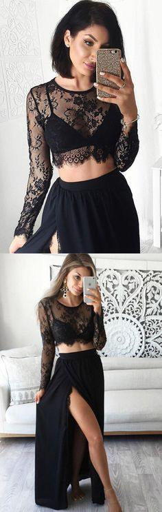 Stunning Two Piece Jewel Long Sleeves Black Prom Dress with Lace Top prom,prom dress,long prom dress,dress,dresses,fashion,women's fahsion,lace,lace dress,black lace dress