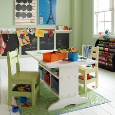 Furniture, White Modern Craft Table Idea For Kids With Under Shelving Unit A Pair Of White Modern Chairs For Kids A Small Green Plastic Rug In Green With Blue Frame ~ Craft Table for Kids: Designs, Materials, and Complements