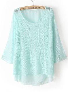 Blue Long Sleeve Hollow Dipped Hem Sweater - Sheinside.com Mobile Site