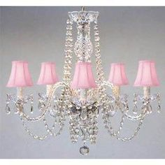 Swarovski Crystal Trimmed Chandelier! New! Authentic All Crystal Chandelier With Pink Shades! Swag Plug In-Chandelier W/ 14' Feet Of Hanging Chain And Wire! - A46-B15/Pinkshades/384/5 Sw