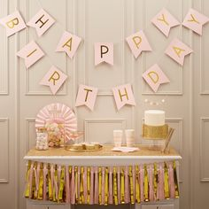 """Dekoration - Raumgirlande """"Happy Birthday"""" Rosa/Gold - ein Designerstück von Lolima-Shop bei DaWanda"""