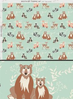 1 Yard, Oh Hello Meadow, Hello Bear Collection, Designed by Bonnie Christine, Art Gallery Fabrics, Quilting Cotton