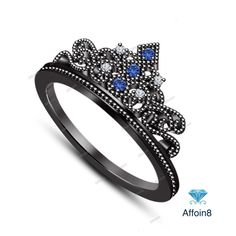 Round Cut Diamond & Sapphire 925 Silver Disney Princess Crown Engagement Ring 5  #Affoin8 #WomensCrownStyleWeddingRing