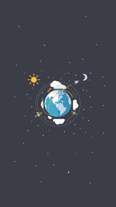 Earth Satellites Sun Moon Illustration iPhone 5 Wallpaper
