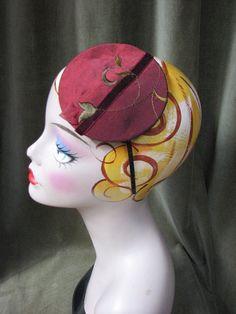 Mini Hat  Button Hat  Fascinator  Burgundy Satin by BoringSidney, $30.00