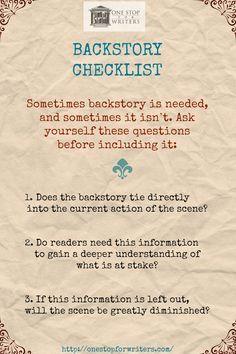 A Checklist for Writing Backstory Effectively http://onestopforwriters.com/?utm_content=bufferf923d&utm_medium=social&utm_source=pinterest.com&utm_campaign=buffer #writetip
