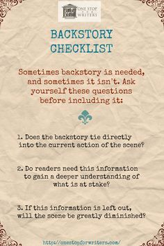 A Checklist for Writing Backstory Effectively http://onestopforwriters.com/?utm_content=bufferf923d&utm_medium=social&utm_source=pinterest.com&utm_campaign=buffer #writetip