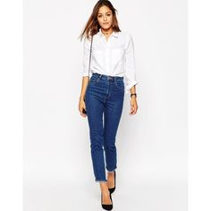ASOS Farleigh High Waist Slim Mom Jeans in Juniper Wash (68 AUD) ❤ liked on Polyvore featuring jeans, zipper jeans, white slim jeans, white high waisted jeans, white slim fit jeans and asos jeans