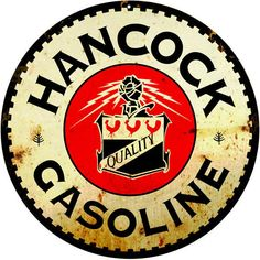 Hancock Gasoline, 18 x 18 Aged Style Large Aluminum Metal Sign, USA Made Vintage Style Retro Garage Art RG4989-18 by HomeDecorGarageArt on Etsy