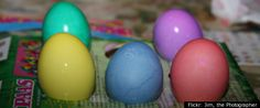 Natural Easter egg dyes [red-cranberries; orange-paprika; yellow-tumeric; green-kale; blue-blueberries; purple-grape juice; pink-beets; brown-coffee/tea]