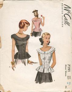Vintage Summer Peplum Blouses Misses' McCall Sewing Pattern 7191 Vintage Dress Patterns, Blouse Vintage, Clothing Patterns, Coat Patterns, Fashion Moda, 1940s Fashion, Vintage Fashion, Fashion Sewing, Retro Mode