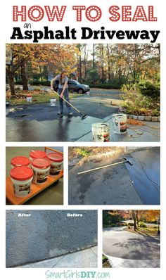 Have you ever wondered how hard it would be to seal an asphalt driveway? It is an easy DIY project. Blacktop Driveway, Asphalt Driveway Repair, Driveway Sealing, Driveway Resurfacing, Asphalt Repair, Diy Driveway, Driveway Landscaping, Driveway Ideas, Landscaping Ideas