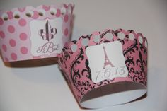 Paris Themed Cupcake Wrappers by AllThatGlittersEvent on Etsy, $9.50