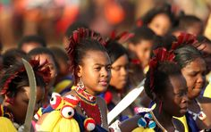 Maidens during a Reed Dance at a Queen Mother's Royal Palace in Mbabane, Swaziland, Monday, Sept. 3, 2012. (AP Photo/Themba Hadebe)