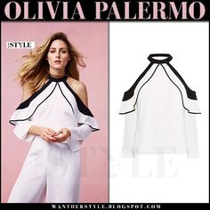 Olivia Palermo in white cold shoulder top and white pants Coast SS17 Campaign