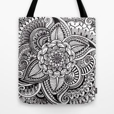 """Henna Style (black and white)  Tote Bag by Dwyanna Stoltzfus  - $22.00 Our quality crafted Tote Bags are hand sewn in America using durable, yet lightweight, poly poplin fabric. All seams and stress points are double stitched for durability. They are washable, feature original artwork on both sides and a sturdy 1"""" wide cotton webbing strap for comfortably carrying over your shoulder. swirls, leaves, flowers, doodle, henna, tattoo style, zentangle, art"""