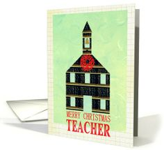 Teacher School Merry Christmas card by Sharon Eyres