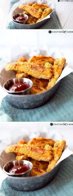 These PARMESAN BAKED CHICKEN STRIPS are so easy to make and so much healthier for you than fast-food chicken nuggets. Plus, they're delicious!