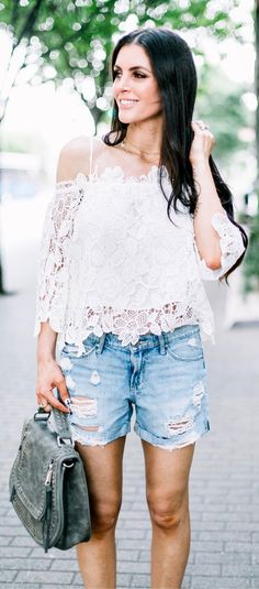 #summer #outfits  Had To Share A Close Up Of This Lace Top! A Must-have In Our Books For Summer ( Especially With A Tan !) How Would You Wear This Top? Casual With Shorts Or More Dressy? Would Love To Know In The Comments Below 👇🏼